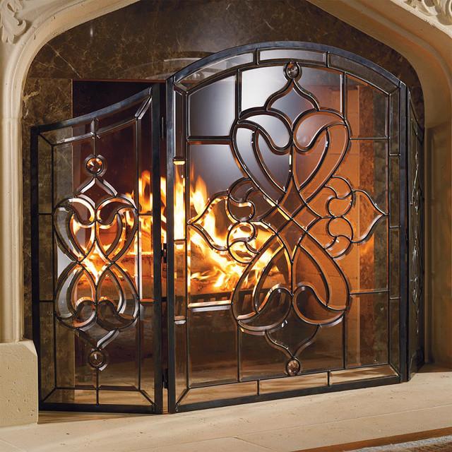 beveled glass fireplace screens