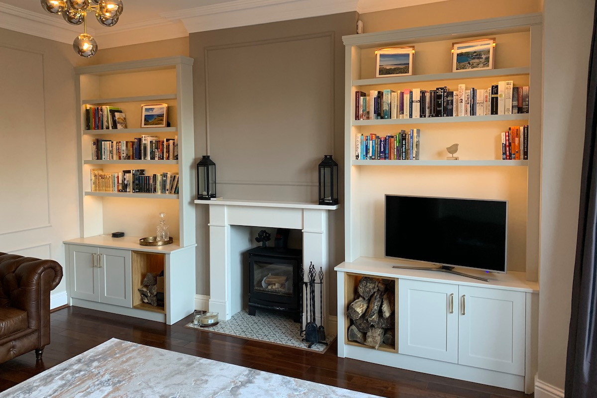Modern/Classic Mix shaker door cabinets with log store and bookcase with lightin