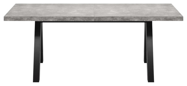 Apex Extending Dining Table, Concrete With Black Legs