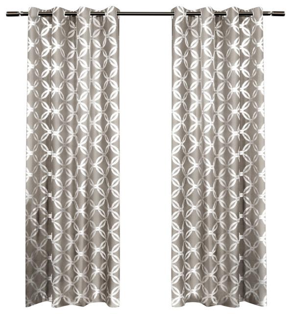 Curtains Ideas 54 curtain panels : Modo Metallic Geometric Grommet Top Curtain Panels, 54