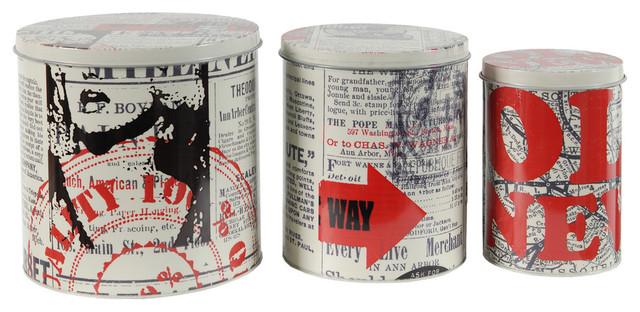 Tin Metal Boxes With Lid Bird I Piece Set