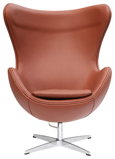 Egg Chair In Leather by Lemoderno, Light Brown Leather
