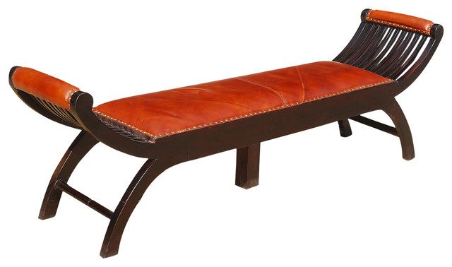 Contemporary Mango Wood u0026 Leather Chaise Lounge Bench indoor-benches  sc 1 st  Houzz : chaise bench - Sectionals, Sofas & Couches