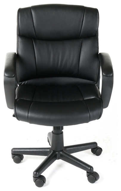 Ergonomic Pu Leather Mid-Back Executive Office Chair, Black.