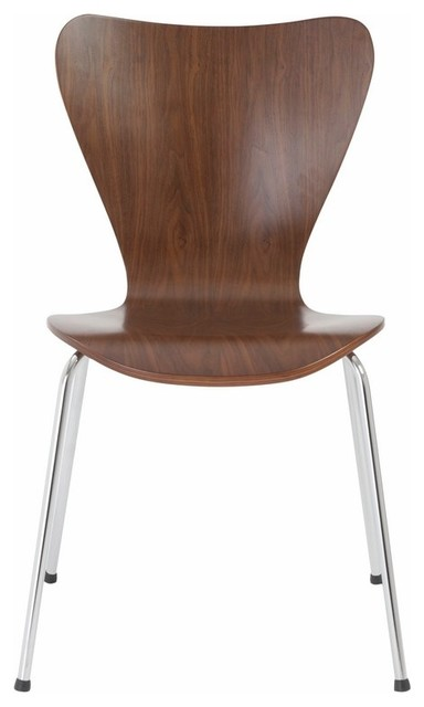 Euro Style Tendy Stacking Chair In American Walnut With Chrome Legs Set Of 4 Contemporary