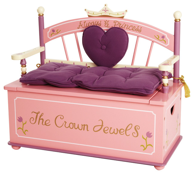 Pink Fairy Wishes Bench Seat With Storage Toy Box Seating: Kids Storage Benches And Toy