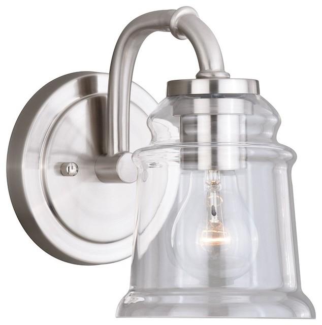 Vaxcel Toledo 1-Light Vanity, Satin Nickel.