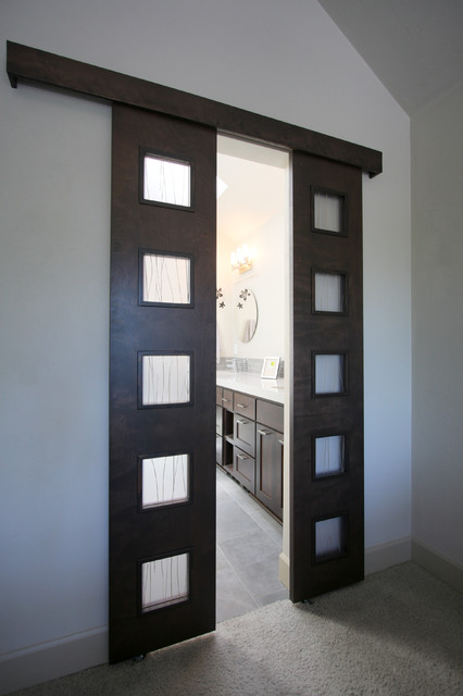 Urban Custom Barn Door Entry Into Master Bathroom