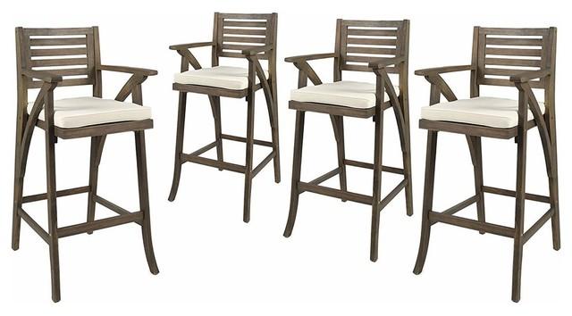 Enjoyable Bar Chairs Acacia Wood Barstools Gray Cream Set Of 4 Waterproof Pdpeps Interior Chair Design Pdpepsorg