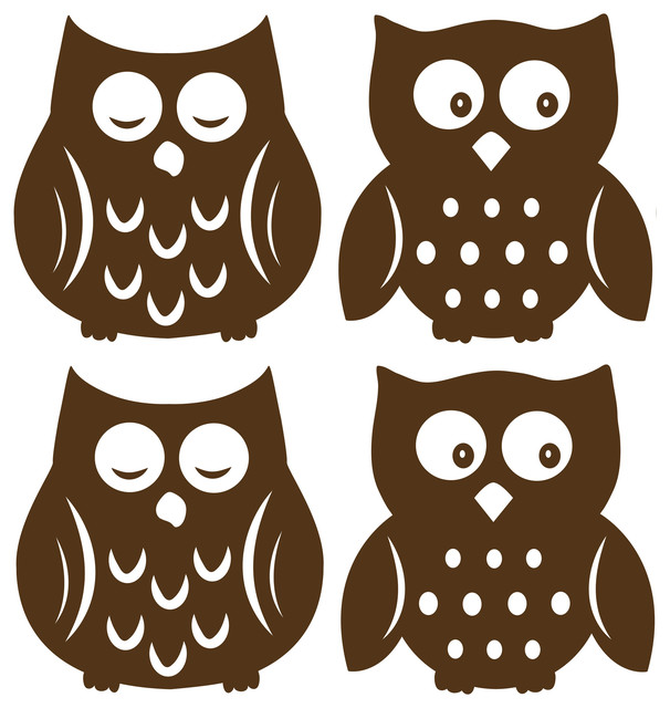 Owl Espresso Silhouettes Wall Decal Contemporary Wall Decals
