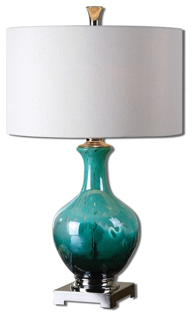 Yvonne Green Blue Glass Table Lamp By Designer Billy Moon Transitional Table  Lamps