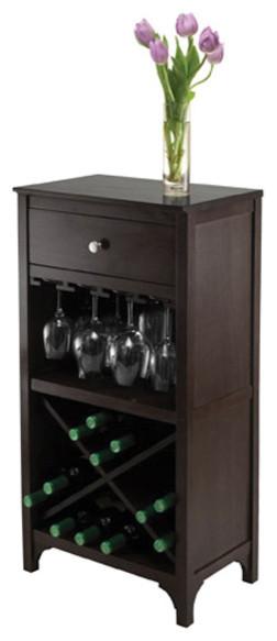 Winsome Ancona Modular Wine Cabinet With 1-Drawer, Glass Rack, X-Shelf ...