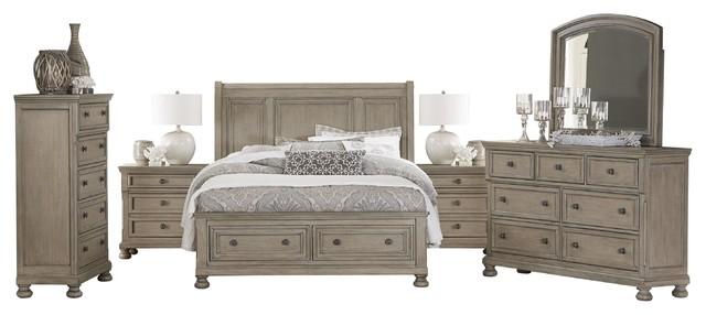 6-Piece Bradway E King Storage Bed, Dresser, Mirror, 2 Nightstand, Chest Natural