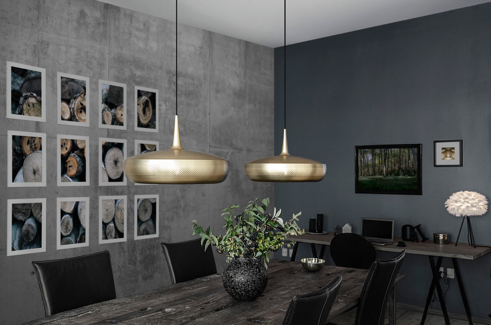 Example of a mid-sized trendy dining room design in Other with gray walls