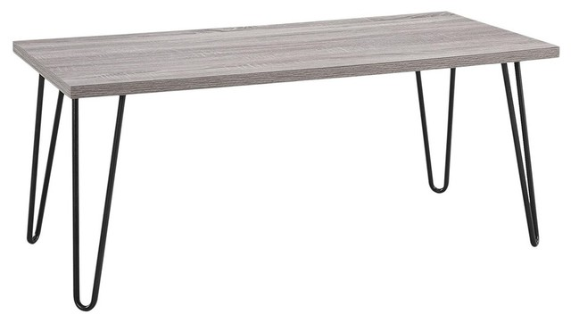 Retro Coffee Table In Laminated Particleboard Black Metal Hairpin Style Legs
