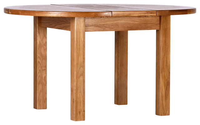 Traditional Oak Round Butterfly Extension Dining Table