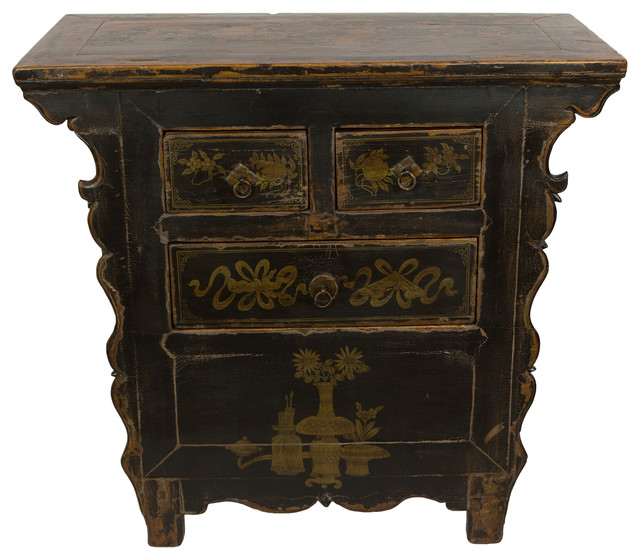Consigned Antique Black Gansu 3 Drawer