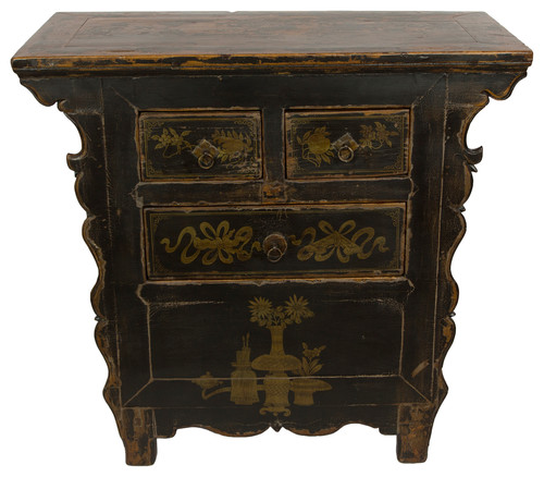 Consigned, Antique Black Gansu 3 Drawer Small Cabinet