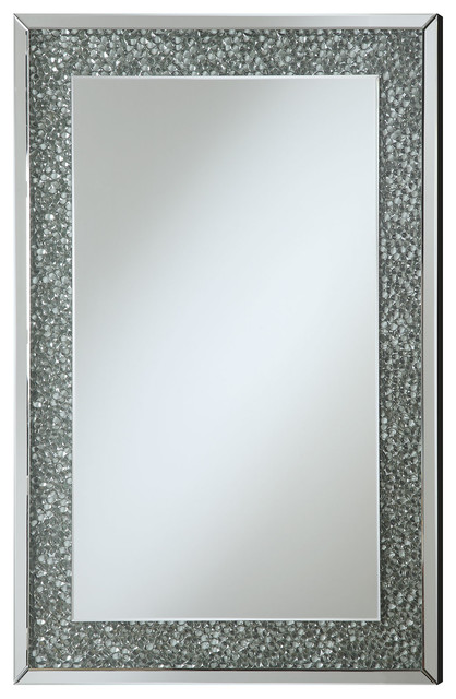 Accent Mirrors Mirror With Mirrored Frame And Pebble-Like Insert ...