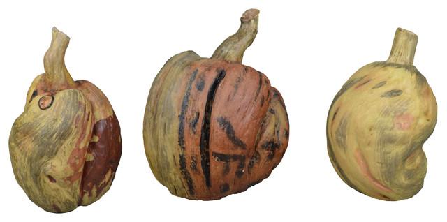 Handcrafted Wooden Pumpkin Assortment.