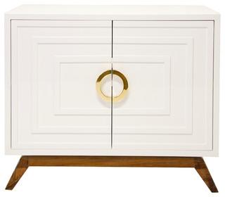 Worlds Away Bernard Cabinet, White/Brass