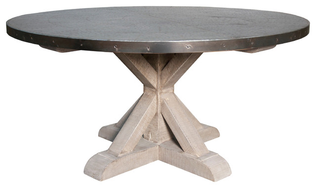 Zinc Top Round Table Industrial Dining Tables by Noir
