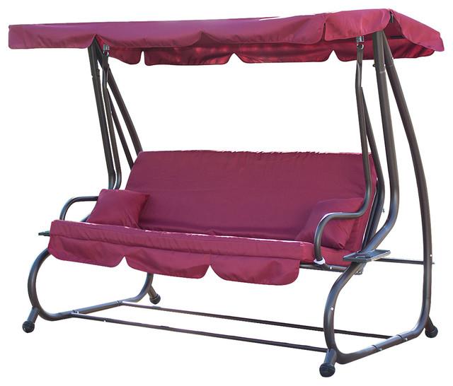 Outdoor Swing Bed Hammock Tilt Canopy With Steel Frame, Burgundy.