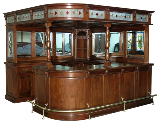 Consigned Antique Reclaimed Wood Preowned Corner Pub Bar W Stained Glass Traditional Wine