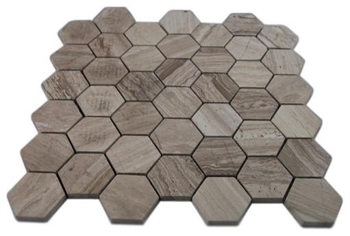 12 X12 Wooden Beige Hexagon Polished Marble Mosaics Single Sheet Contemporary Mosaic
