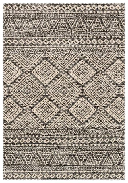 Mapenzi Global Bazaar Charcoal Ivory Aztec Rug 3 10x5 7
