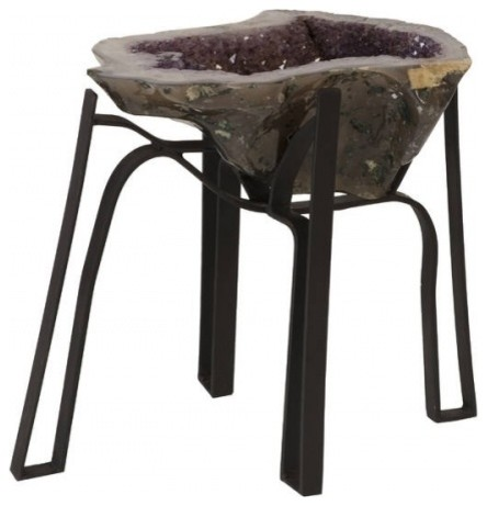 Fantastic 18 L Coffee Table Large Natural Purple Amethyst Crystal Black Iron Base Home Interior And Landscaping Ferensignezvosmurscom