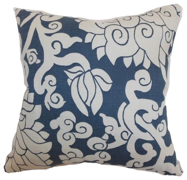Smoke Blue Throw Pillow : Erdenet Floral Pillow Smoke - Contemporary - Decorative Pillows - by The Pillow Collection