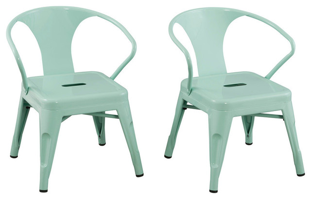 High Quality Kids Chairs By Reservation Seating, Mint Green , Set Of 2 Industrial Kids