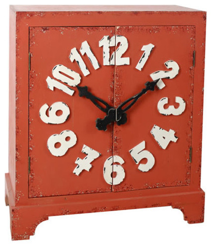 Antiqued Solid Wood Cabinet Clock Design 29x13x33
