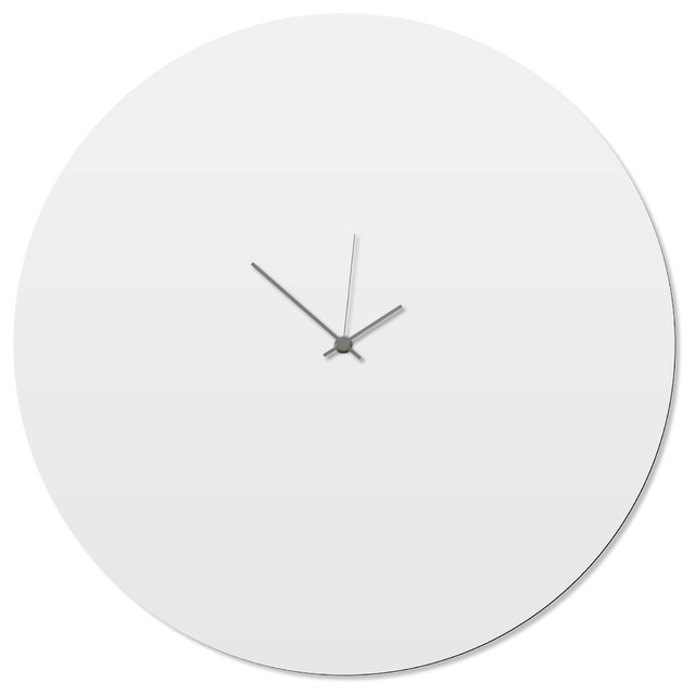 Contemporary Clock Whiteout Grey Circle Large White Kitchen