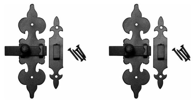 "2 Cabinet Latch Wrought Iron Black Fleur De Lis 6"" - Industrial - Door Locks - by Renovator's Supply"