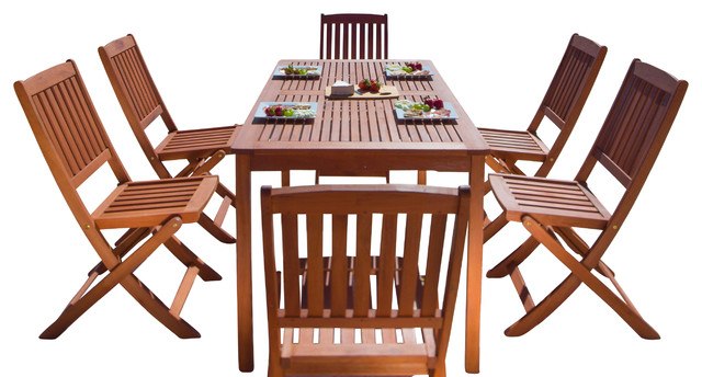 Balthazar Rectangular Table U0026 Folding Chair Outdoor Wood Dining Set Outdoor  Dining Sets