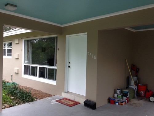 Front entry concrete patio paint color for Concrete homes florida