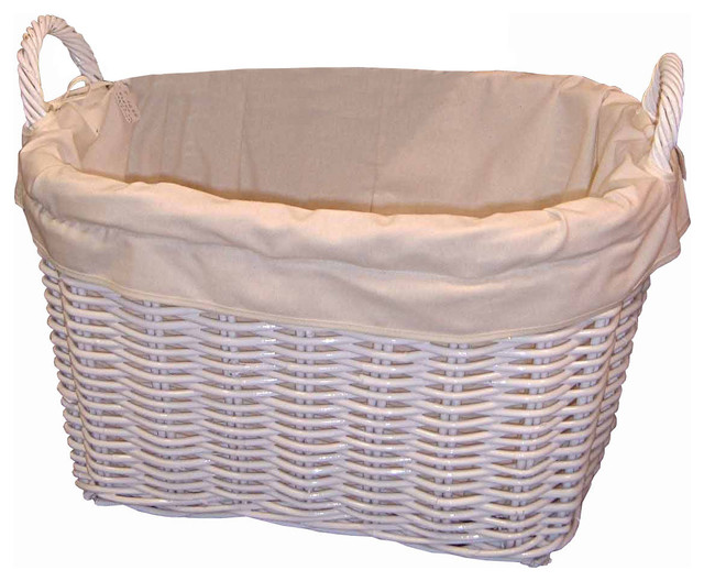Square Wicker Laundry Basket, Large.