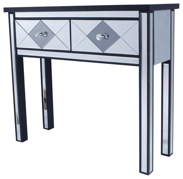 Emmy Harlequin 2 Drawer Mirrored Console Table Contemporary