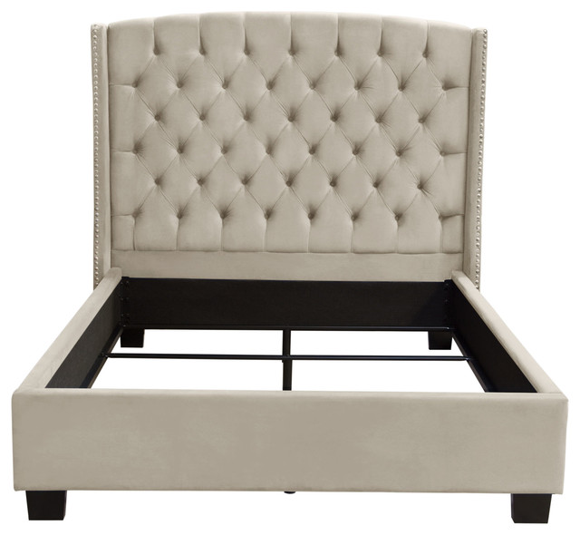 Majestic Tufted Bed With Nail Head Wing Accents, Light Tan, Eastern King.