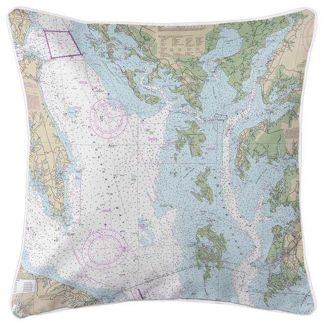 Chesapeake Bay, Md-Va Nautical Chart Pillow