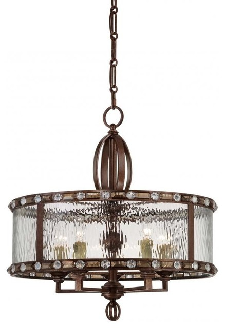 We Got Lites Five Light Clear Watered Glass Gilded Bronze Drum – Bronze Chandelier with Shades