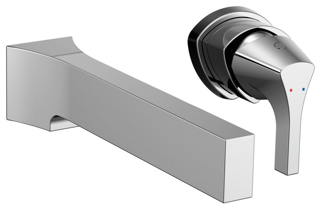 Delta zura single handle wall mount lavatory faucet trim - Delta contemporary bathroom faucets ...
