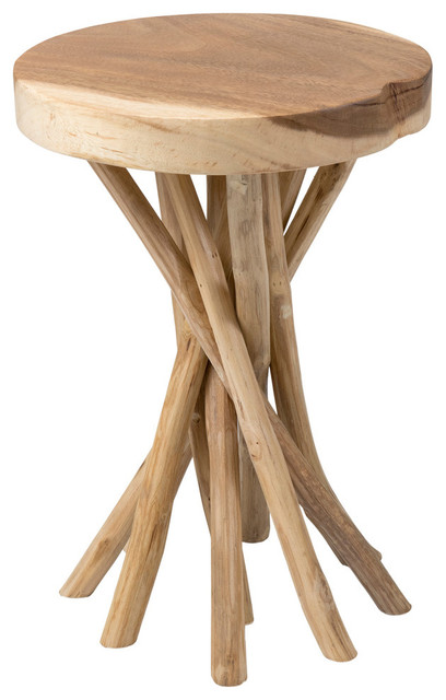 Lovely Kenton Teak Accent Table, Brown Beach Style Side Tables And