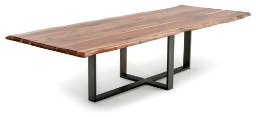 Contemporary Live Edge Dining Table, Black Walnut, 84x48x31 #liveedge #diningtable #walnut