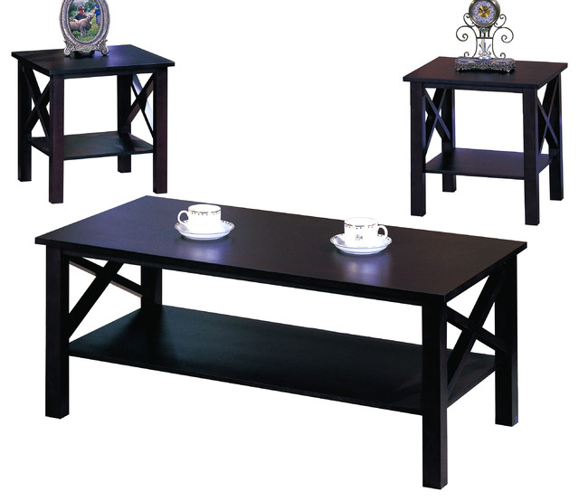 3 Piece Cherry Finish Wood X Style Casual Coffee Table 2 End Tables Set Coffee Table Sets