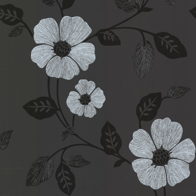 Zync Black Modern Floral Wallpaper Bolt