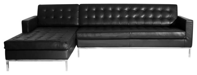 Midcentury Floine Premium Aniline Leather Sectional Black Left