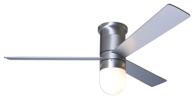 Modern Fan Cirrus Flush Led-Light Brushed Aluminum 50 Ceiling Fan With Remote.